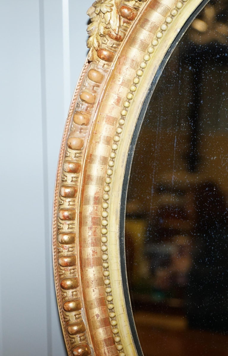 19th Century French Gold Giltwood Mirror, Gesso Carving Floral Ribbon & Shell For Sale 4
