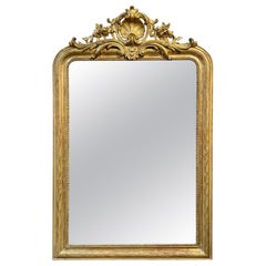 19th Century French Gold Louis Philippe Mirror with Crest