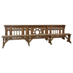 19th Century French Gothic Bench and Rail, Ballustrade