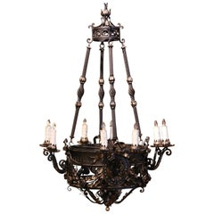 19th Century French Gothic Black Wrought Iron Eight-Light Chandelier