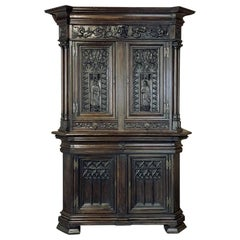 19th Century French Gothic Buffet a Deux Corps, Cabinet