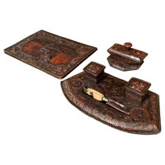 19th Century French Gothic Embossed Leather Five-Piece Desk Set
