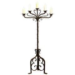 19th Century French Gothic Forged Iron Five-Light Floor Lamp with Wax Candles
