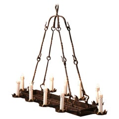 19th Century French Gothic Forged Iron Ten-Light Chandelier