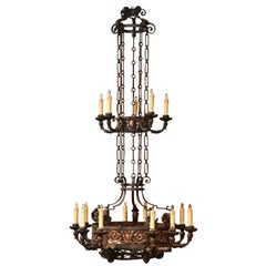 19th Century French Gothic Iron and Copper Two-Tier Fifteen Light Chandelier