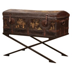 19th Century French Gothic Leather Trunk in Iron Base with Chinoiserie Decor