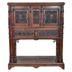 19th Century French Gothic Oak Chalice Court or Sideboard, circa 1860