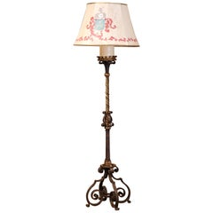 19th Century French Gothic Patinated Forged Iron Floor Lamp