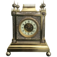 19th Century French Gothic Style Brass and Silver Filigree Mantel Clock