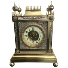 19th Century French Gothic Style Brass and Silver Mantel Clock