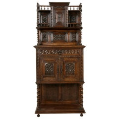 19th Century French Gothic Style Hand Carved Oak and Walnut Cabinet or Credenza
