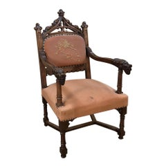 19th Century French Gothic Walnut Armchair with Embroidery