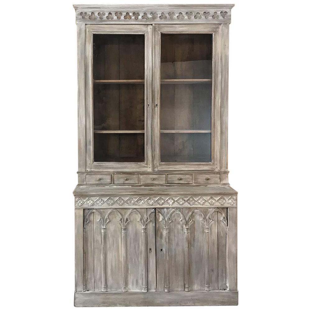 19th Century French Gothic Whitewashed Bookcase