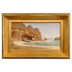 "19th Century French Gouache on Paper ""A Cove at Trouville"" Signed Bonhome, 1868"