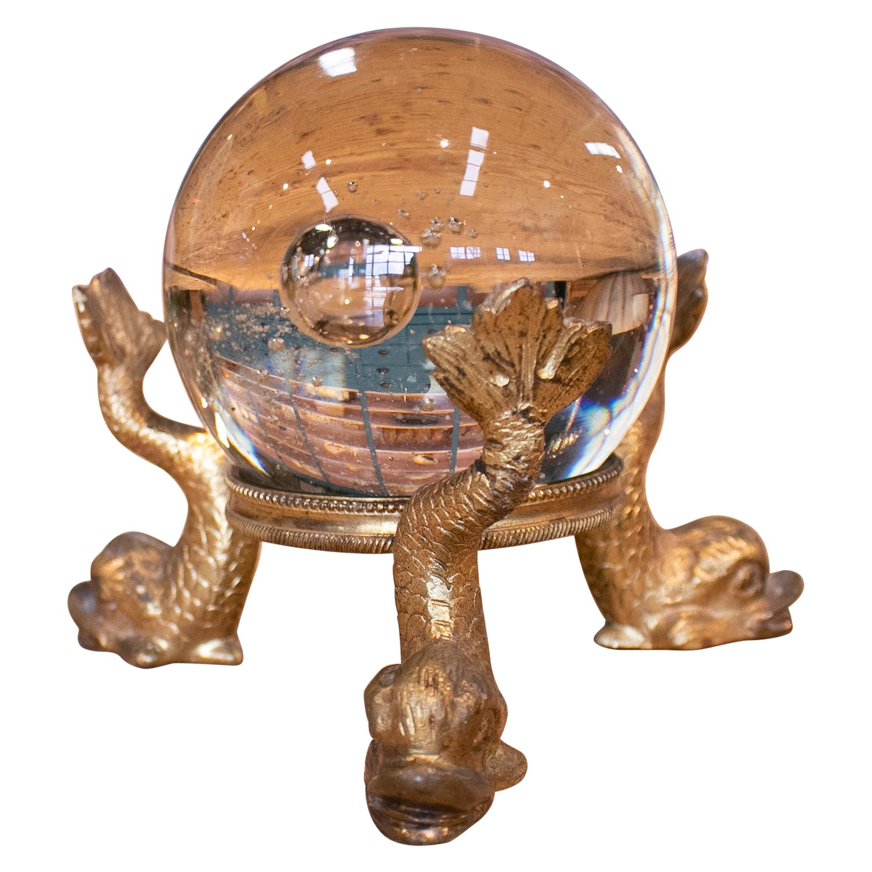 19th Century French Grand Tour Glass Ball with Fish Feet Golden Bronze Base