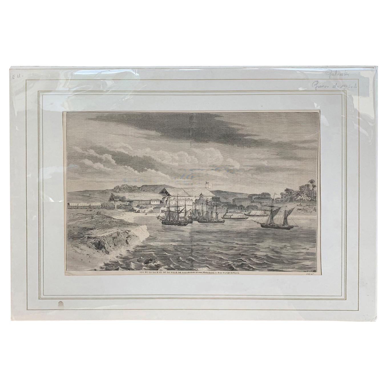19th Century French Gravure Print of Galveston Harbor