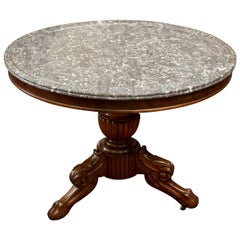 19th Century French Gray Marble-Top Mahogany Center Table