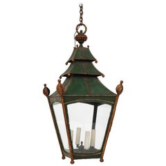 19th Century French Green and Gilt Tôle Lantern