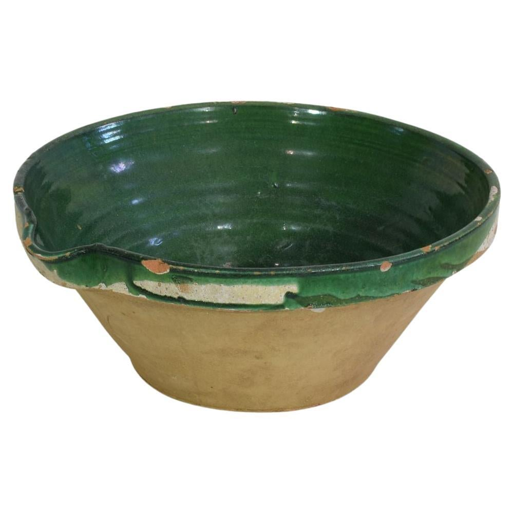 19th Century French Green Glazed Terracotta Dairy Bowl or Tian