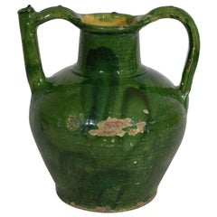 19th Century French Green Glazed Terracotta Jug or Water Cruche