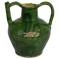 19th Century French Green Glazed Terracotta Jug or Water Cruche
