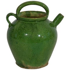 19th Century, French Green Glazed Terracotta Jug or Water Cruche