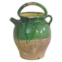 19th Century, French Green Glazed Terracotta Jug or Water Cruche