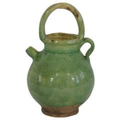 19th Century, French Green Glazed Terracotta Jug / Water Cruche