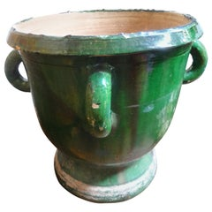 19th Century French Green Glazed Terracotta Planter from Anduze