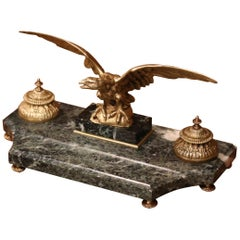 19th Century French Green Marble Inkwell with Bronze Eagle Sculpture