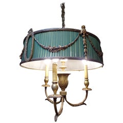 19th Century French Green Napoleón III Bouillotte Chandelier