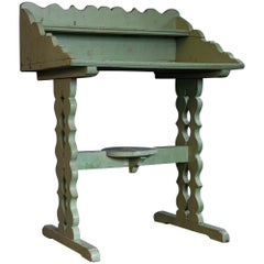 19th Century French Green Painted Oak Provincial Washstand