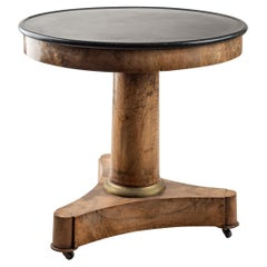 19th Century French Gueridon Granite Table Top on Wooden Base with Brass Castors