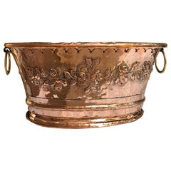 19th Century French Hammered Polished Copper Planter Jardinière Cachepot Brass