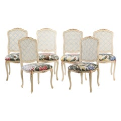 19th Century French Hand Carved and Painted Dining Chairs in Louis XV Style