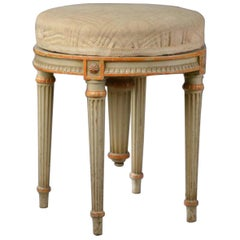 19th Century French Hand Carved and Painted Round Adjustable Piano Stool