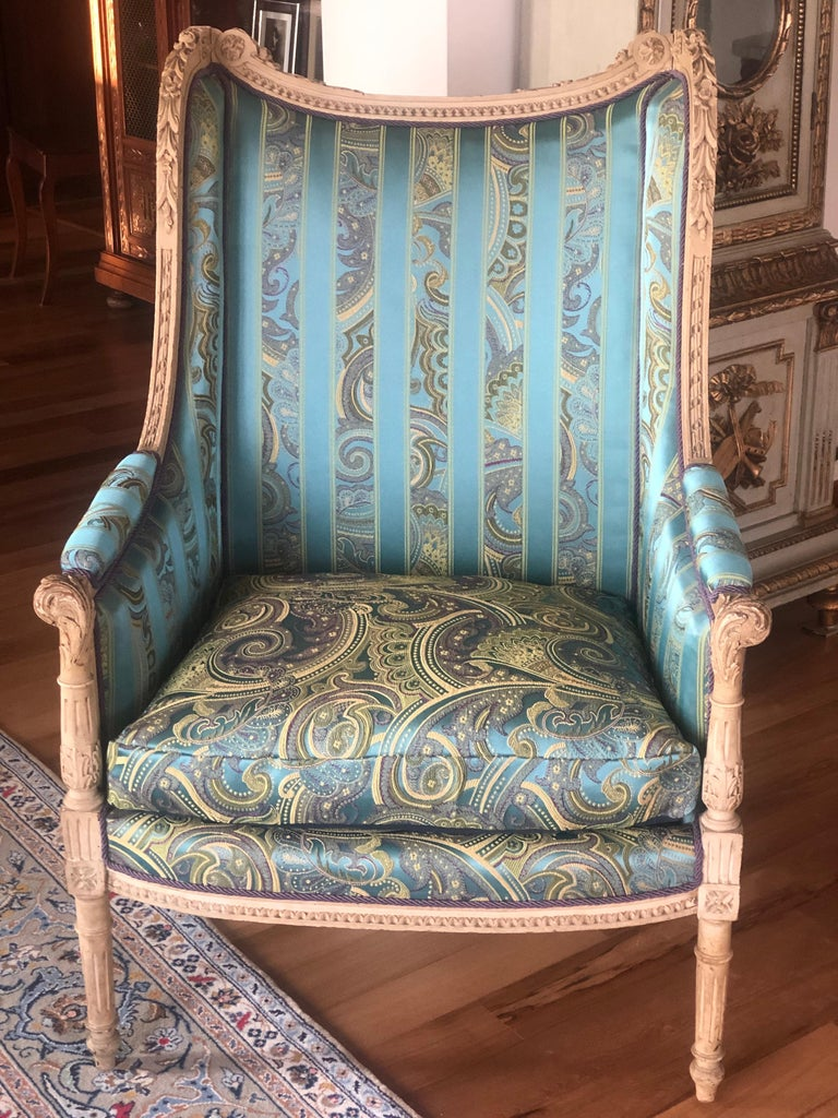 19th Century French Hand Carved Bergere Chairs - Armchairs in Louis XVI Style For Sale 5