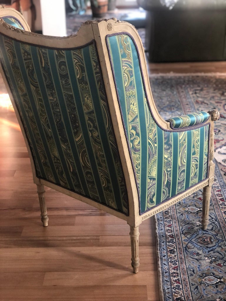 Hand-Carved 19th Century French Hand Carved Bergere Chairs - Armchairs in Louis XVI Style For Sale
