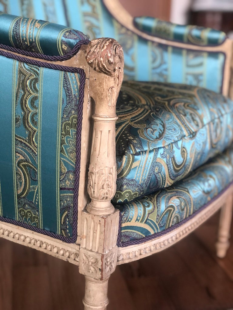 Wood 19th Century French Hand Carved Bergere Chairs - Armchairs in Louis XVI Style For Sale