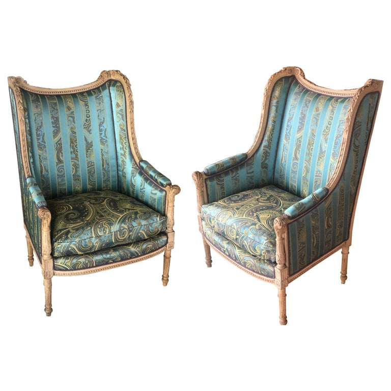 19th Century French Hand Carved Bergere Chairs - Armchairs in Louis XVI Style For Sale