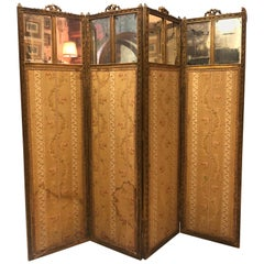 19th Century French Hand Carved Gilded Four Leaves Folding Screen