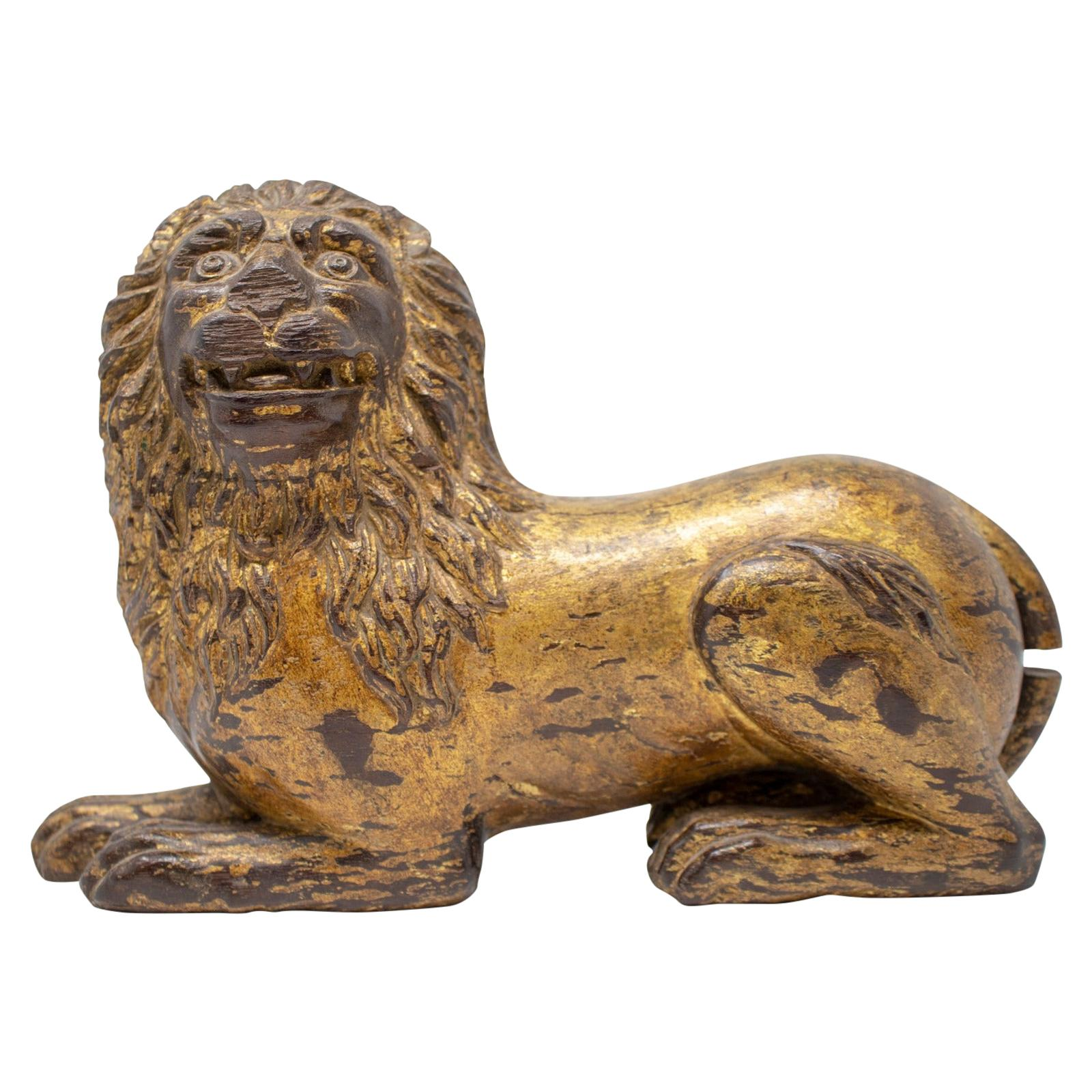 19th Century French Hand Carved Giltwood Lion
