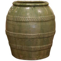 19th Century French Hand Carved Green Terracotta Olive Oil Jar from Provence