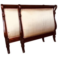 19th Century French Hand-Carved Mahogany Single Bed with Swans Heads