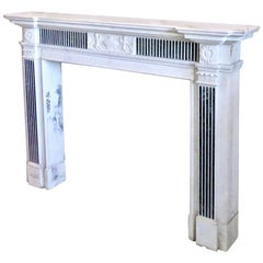 19th Century Neoclassical Style Inlayed Verde Antico Marble Fireplace Surround