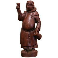 19th Century French Hand Carved Pine Drinking Monk Statue