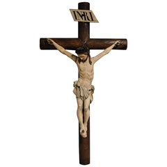19th Century French Hand Carved Polychrome and Painted Life-Size Wall Crucifix