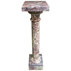 19th Century French Hand Carved Red Marble Column Pedestal, Napoleon III Style