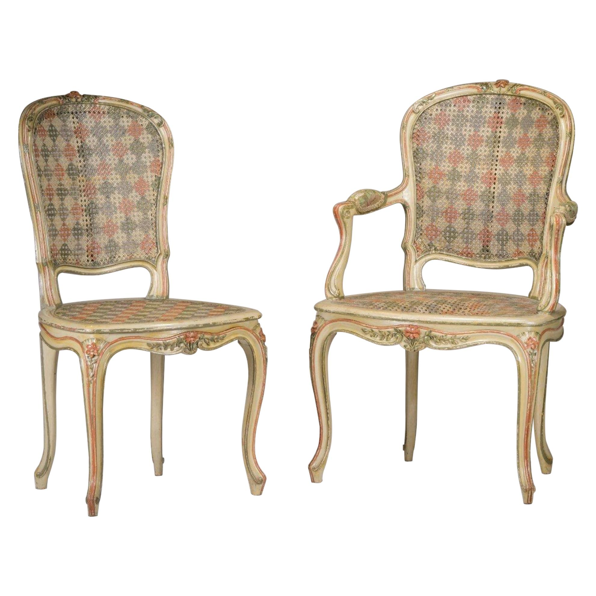 19th Century French Hand Carved Set of Chair and Armchair in Louis XV Style