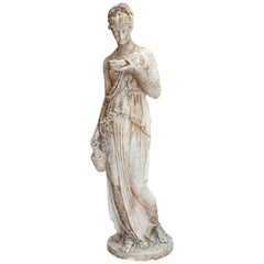 19th Century French Hand Carved Stone Female Statue